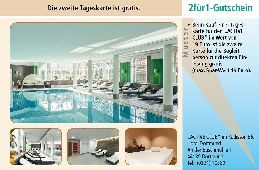 Sauna Gutschein im ACTIVE CLUB im Radisson Blu Hotel Dortmund