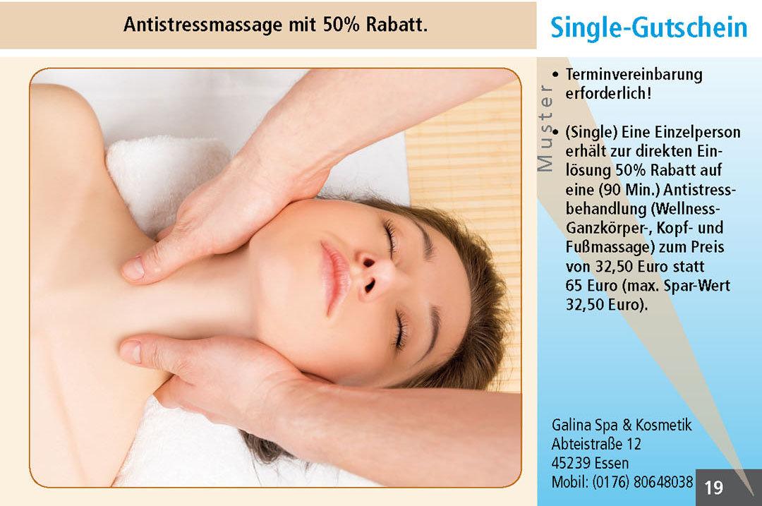 Gutschein Antistressmassage Essen Ruhrgebiet  Galina Spa & Kosmetik
