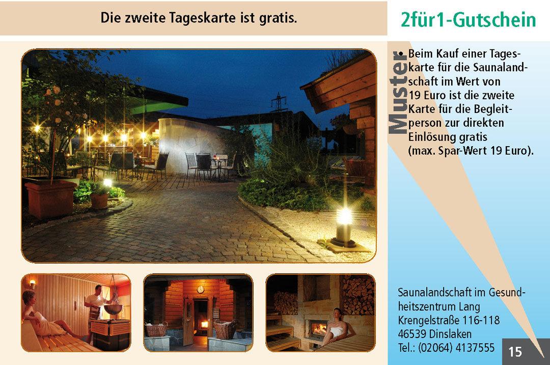 Sauna Gutschein im Ruhrgebiet Saunalandschaft im Gesundheitszentrum Lang