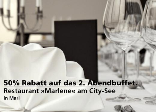 "50% Rabatt auf das 2. ""all-you-can-eat"" Abendbuffet - Restaurant »Marlene« am City-See - Nach Ausdruck maximal 30 Tage gültig!!!"