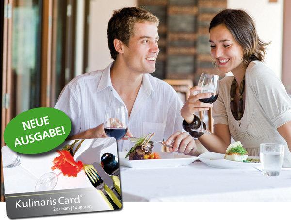 Kulinaris Card 2020 Gutscheinbuch in einem handlichen Scheckkartenformat im Ruhrgebiet, Münster und Umgebung mit 2 für 1 Gutscheinen Restaurant-Cafe-Bar-Frühstück