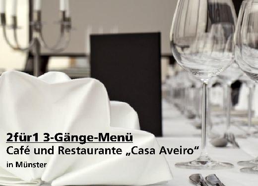 """2für1 Gutschein 3-Gänge-Menü - Café und Restaurante """"Casa Aveiro"""" in Münster"""