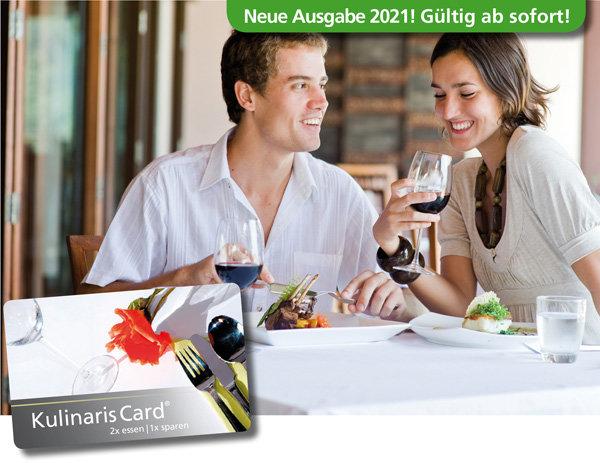 Kulinaris Card 2021 Gutscheinbuch in einem handlichen Scheckkartenformat im Ruhrgebiet, Münster und Umgebung mit 2 für 1 Gutscheinen Restaurant-Cafe-Bar-Frühstück