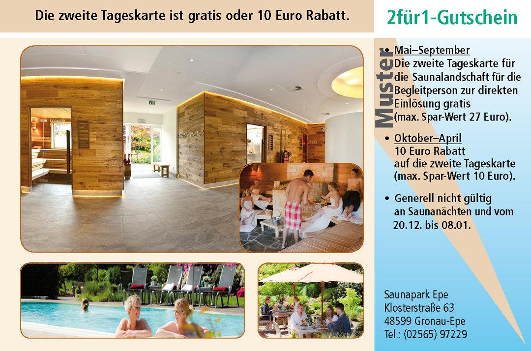 2 für 1 Gutschein-Ruhrgebiet-Saunapark-Epe
