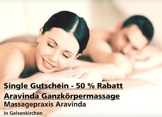 Single-Gutschein 50% Rabatt Aravinda Ganzkörpermassag - Massagepraxis Aravinda - Nach Ausdruck maximal 30 Tage gültig!!!