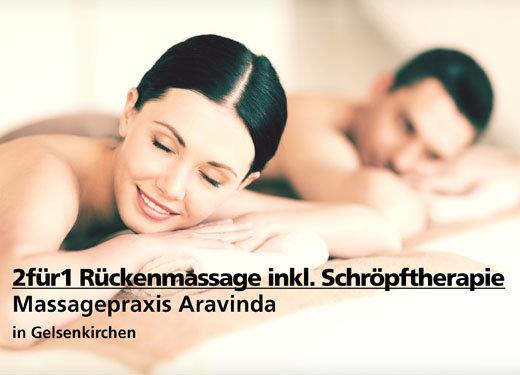 2für1 Rückenmassage inkl. pulsierender Schröpftherapie - Massagepraxis Aravinda - Nach Ausdruck maximal 30 Tage gültig
