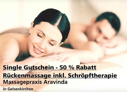 Single-Gutschein 50% Rabatt - Rückenmassage pulsierender Schröpftherapie - Aravinda Health & Spa - Nach Ausdruck maximal